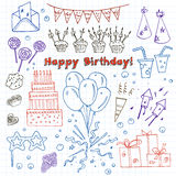 Birthday party doodles elements background.  Vector illustration for invitations, design and packages product. Royalty Free Stock Photography