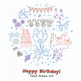 Birthday party doodles elements background.  Vector illustration for invitations, design and packages product. Stock Images