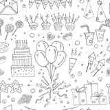 Birthday party doodles seamless pattern. Royalty Free Stock Image