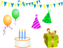 Birthday party elements Stock Images