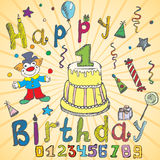Birthday party elements colored hand drawn sketch with numbers Stock Photo