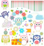 Birthday party elements with funny owls Stock Image