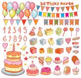 Birthday party elements, vector illustration Royalty Free Stock Photos