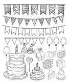 Birthday party elements, vector illustration Stock Image