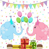 Birthday party elephants set Royalty Free Stock Image
