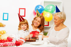 Birthday party in family with little girl Royalty Free Stock Photos