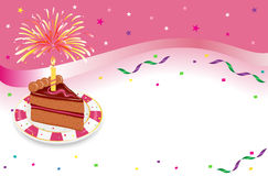 Birthday party with festive cake. Happy Birthday - party celebration with festive cake, glowing candle and fireworks. Vector illustration saved as EPS AI 8 is Stock Image