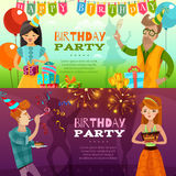 Birthday Party 2  Festive Horizontal Banners. Birthday party celebration 2 festive horizontal banners set with presents sparklers ballons and cake  vector Royalty Free Stock Photo
