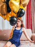 Birthday party festive occasion scared girl royalty free stock photography