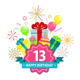 Happy birthday card thirteen years. Birthday party flat vector cartoon greeting card. Fireworks, confetti and hanging sparkling serpentine. Balloons, cake, gifts Royalty Free Stock Images