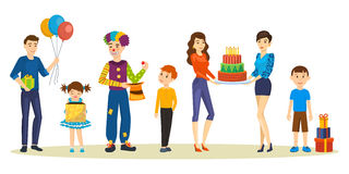 Free Birthday Party For Kids. Playings, Entertainment, Holiday Gifts, Wonderful Mood. Stock Photography - 91677242