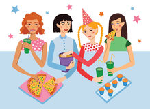 Birthday Party With Four Cute Girls Friends Vector Illustration. Girldfriends Chatting, Snacking During Celebration Royalty Free Stock Images
