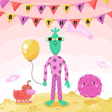 Birthday party funny and cute space greeting card with cartoon aliens and monsters. Stock Image