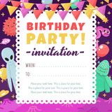 Birthday party funny and cute space invitation with cartoon aliens and monsters. Royalty Free Stock Photo