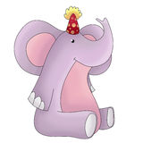 Birthday party funny elephant. Funny, cartoon, birthday party animal - pink elephant Stock Photos