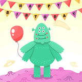 Birthday party funny space greeting card with cartoon alien (monster). Royalty Free Stock Photo