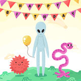 Birthday party funny space greeting card with cartoon aliens and monsters. Royalty Free Stock Image