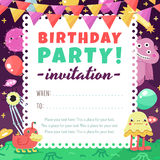 Birthday party funny space invitation with cartoon aliens and monsters. Royalty Free Stock Photography