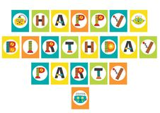 Birthday party garland with robot Stock Images