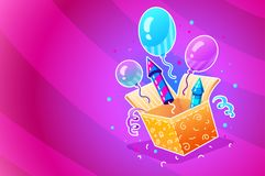 Birthday party. Gift box with festive balloons Royalty Free Stock Photos