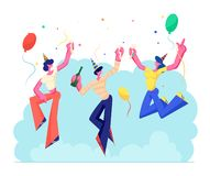 Birthday Party. Group of Cheerful People in Festive Hats with Wine Bottle and Glasses in Hands Celebrating Holiday. On Colorful Background with Balloons and vector illustration