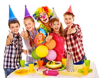 Birthday party group of child with cake. Royalty Free Stock Photography