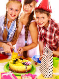 Birthday party group of child with cake. Stock Photos