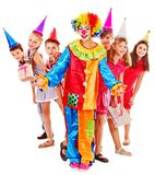 Birthday party group of teen with clown. Stock Photography