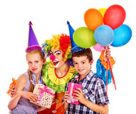 Birthday party group of teen with clown Royalty Free Stock Photography