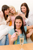 Birthday party - group of woman celebrate Royalty Free Stock Photography