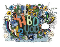 Birthday party hand drawn doodles elements background Stock Images