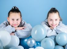 Birthday party. Happiness and cheerful moments. Carefree childhood. Sisters organize home party. Having fun concept. Balloon theme party. Girls best friends stock photography