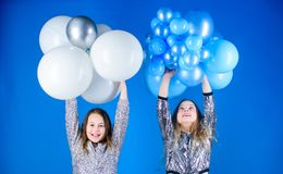 Birthday party. Happiness and cheerful moments. Carefree childhood. Start this party. Sisters organize home party. Having fun concept. Balloon theme party royalty free stock photos