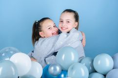 Birthday party. Happiness and cheerful moments. Carefree childhood. Start this party. Sisters organize home party. Having fun concept. Balloon theme party stock image