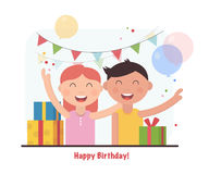 Birthday party for happy kids. cartoon vector illustration. Birthday party for happy kids Stock Photography