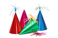 Birthday party hats. On white background royalty free stock photos