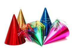 Birthday party hats. On white background stock images