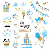 Birthday party icon set in blue, black and golden colors. Vector hand drawn illustration Stock Photo