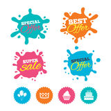 Birthday party icons. Cake and cupcake symbol. Royalty Free Stock Image