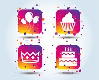Birthday party icons. Cake and cupcake symbol. Birthday crown party icons. Cake and cupcake signs. Air balloons with rope symbol. Colour gradient square buttons stock illustration