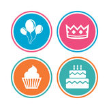 Birthday party icons. Cake and cupcake symbol. Royalty Free Stock Photography