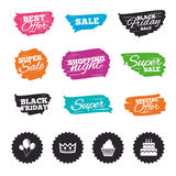 Birthday party icons. Cake and cupcake symbol. Royalty Free Stock Images