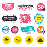 Birthday party icons. Cake and cupcake symbol. Sale shopping banners. Special offer splash. Birthday crown party icons. Cake and cupcake signs. Air balloons Royalty Free Stock Photo