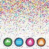 Birthday party icons. Cake and cupcake symbol. Stock Photos