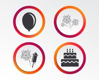 Birthday party icons. Cake and gift box symbol. Birthday party icons. Cake and gift box signs. Air balloon and fireworks symbol. Infographic design buttons Stock Images