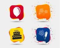 Birthday party icons. Cake and gift box symbol. Birthday party icons. Cake and gift box signs. Air balloon and fireworks symbol. Speech bubbles or chat symbols Stock Images