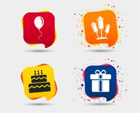 Birthday party icons. Cake and gift box symbol. Birthday party icons. Cake and gift box signs. Air balloons and fireworks rockets symbol. Speech bubbles or chat Stock Photography