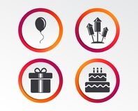 Birthday party icons. Cake and gift box symbol. Birthday party icons. Cake and gift box signs. Air balloons and fireworks rockets symbol. Infographic design Stock Image