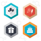 Birthday party icons. Cake and gift box symbol Stock Image