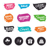 Birthday party icons. Cake and gift box symbol. Ink brush sale banners and stripes. Birthday party icons. Cake and gift box signs. Air balloons and fireworks Royalty Free Stock Photos